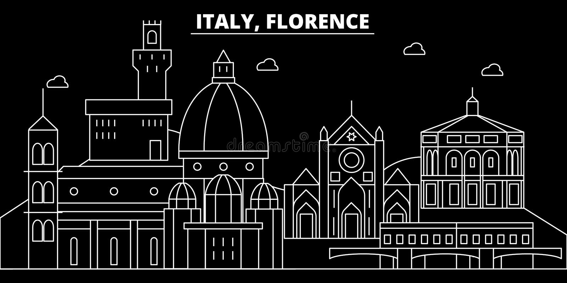 De horizon van het de stadssilhouet van Florence De stads vectorstad van Italië - van Florence, Italiaanse lineaire architectuur, royalty-vrije illustratie