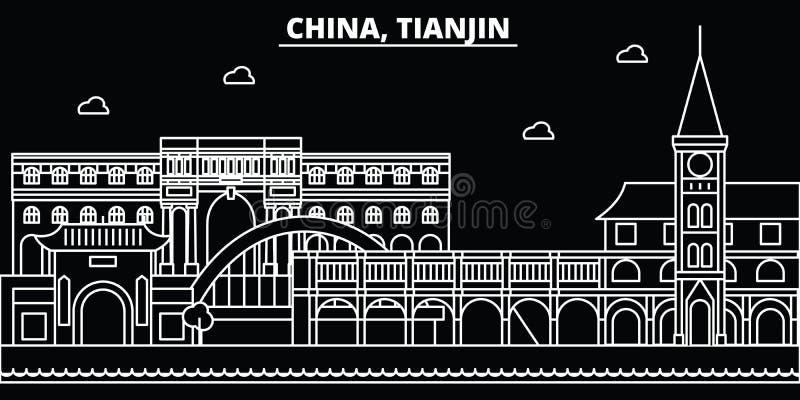 De horizon van het Tianjinsilhouet China - de vectorstad van Tianjin, Chinese lineaire architectuur, gebouwen De reis van de Tian vector illustratie