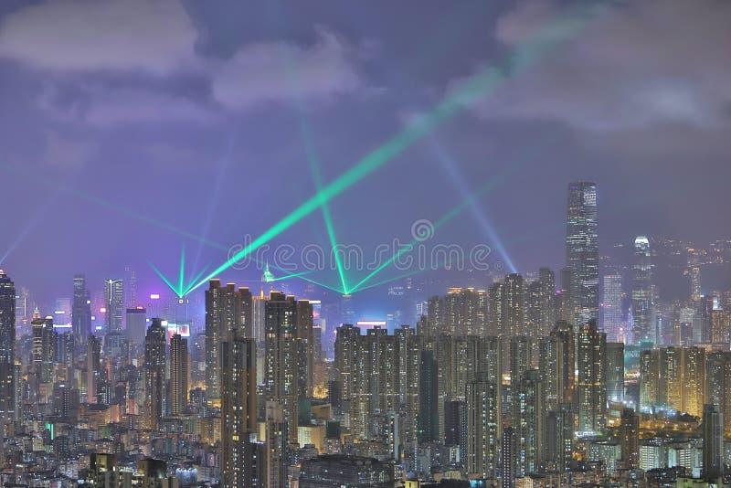 De horizon van HK bij nacht, een symfonie van de lichten stock foto