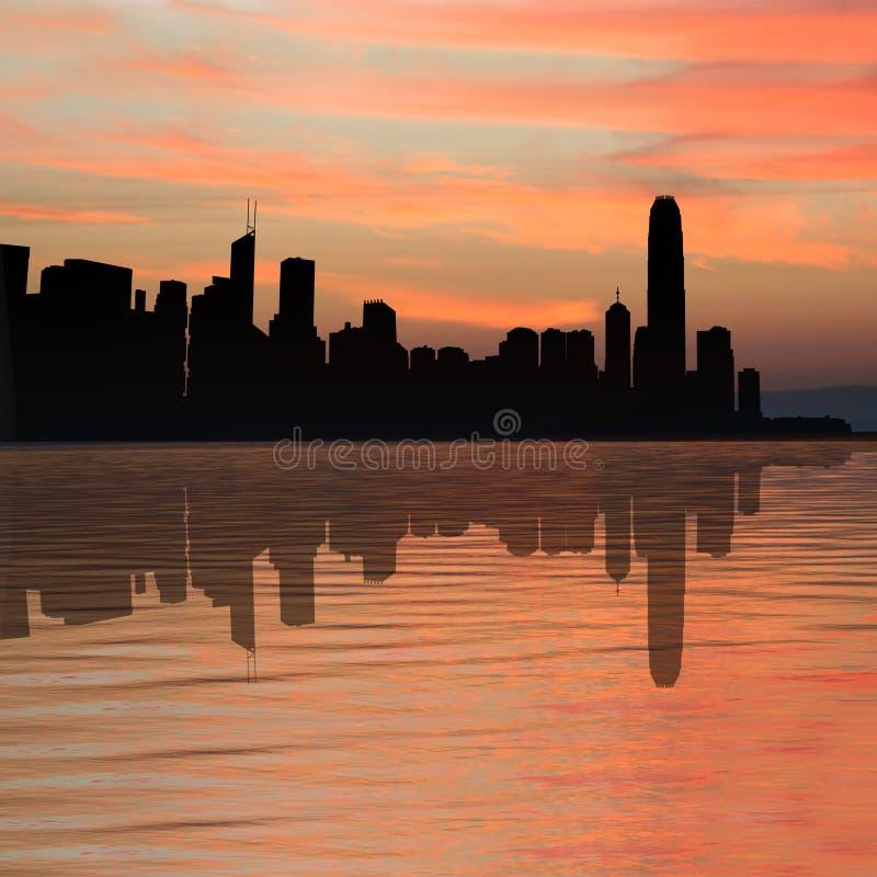 De horizon van Hongkong bij zonsondergang