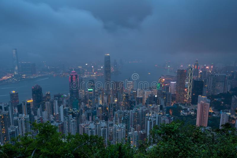 De Horizon van Hongkong Mening van de Piek van Victoria stock foto's