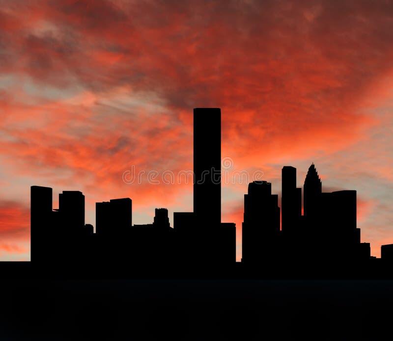 De horizon van Houston bij zonsondergang