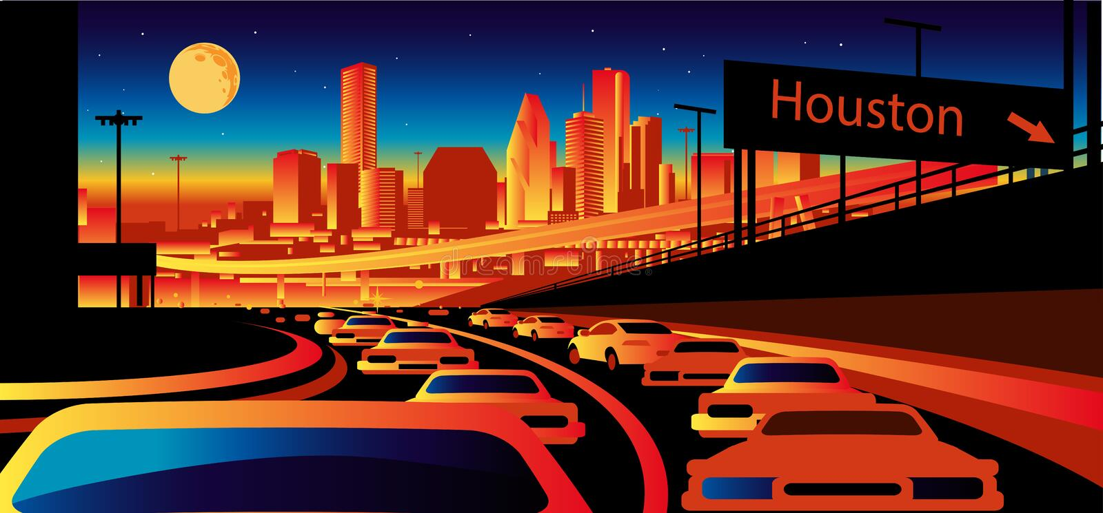 De Horizon van Houston Texas vector illustratie