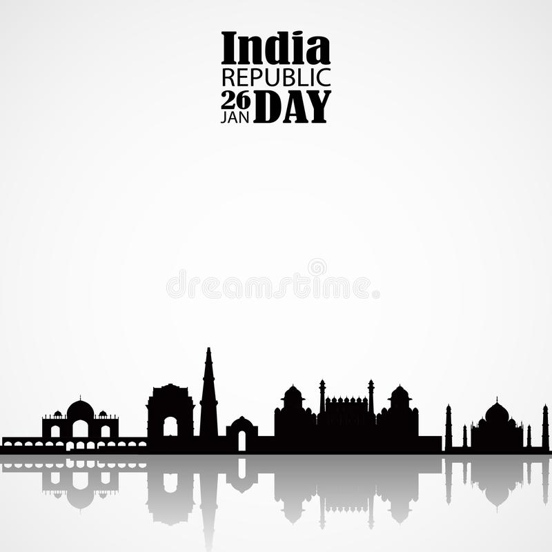 De horizon van India met mosk en horizon royalty-vrije illustratie