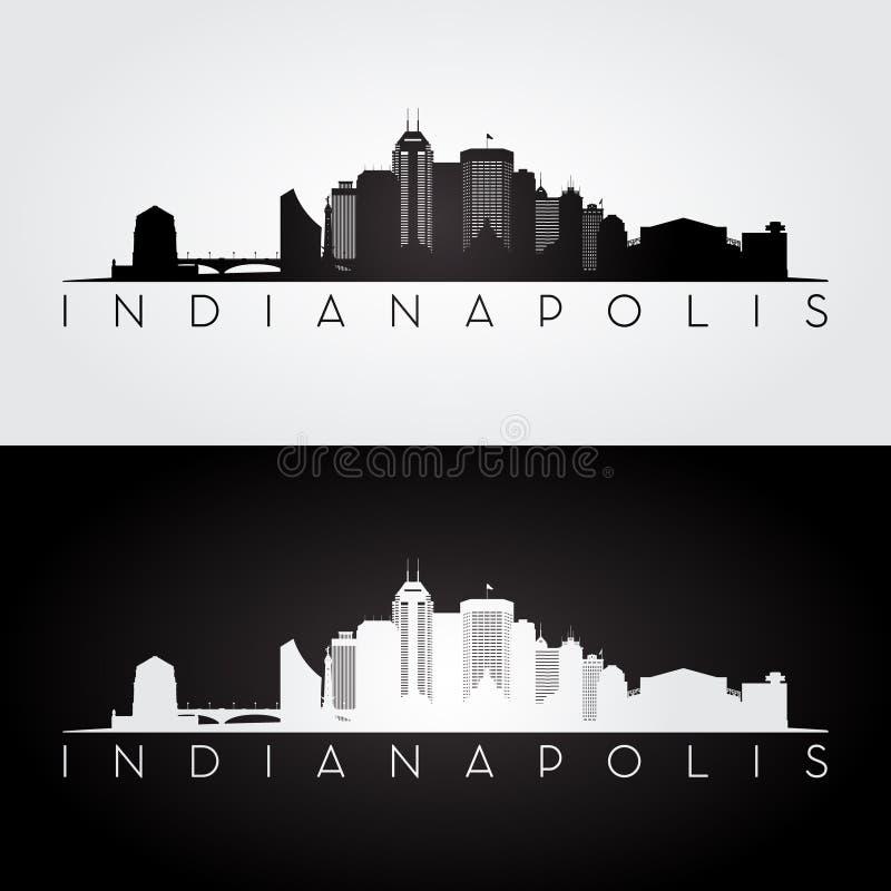 De horizon van Indianapolis de V.S. en oriëntatiepuntensilhouet vector illustratie