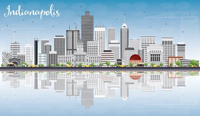 De Horizon van Indianapolis met Gray Buildings, Blauwe Hemel en Reflectio royalty-vrije illustratie