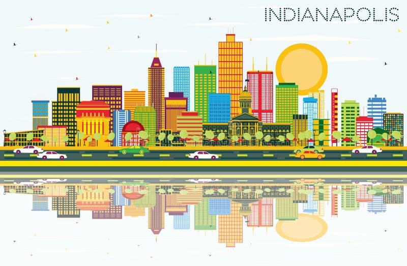 De Horizon van Indianapolis met Kleurengebouwen, Blauwe Hemel stock illustratie