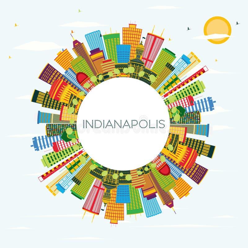 De Horizon van Indianapolis met Kleurengebouwen, Blauwe Hemel en Copy Spa royalty-vrije illustratie