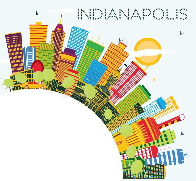 De Horizon van Indianapolis met Kleurengebouwen, Blauwe Hemel en Copy Spa vector illustratie