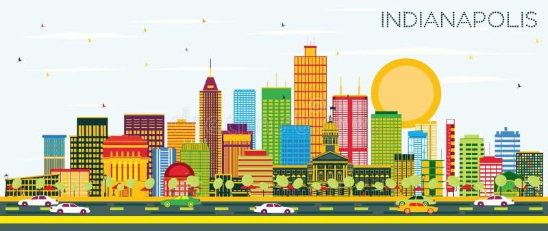 De Horizon van Indianapolis met Kleurengebouwen en Blauwe Hemel royalty-vrije illustratie
