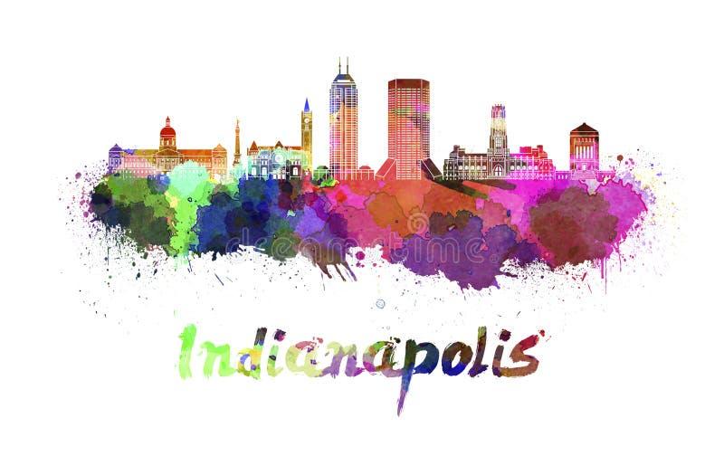 De horizon van Indianapolis in waterverf royalty-vrije illustratie