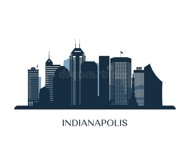 De horizon van Indianapolis, zwart-wit silhouet vector illustratie