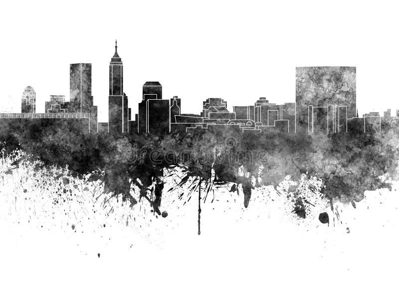 De horizon van Indianapolis in zwarte waterverf royalty-vrije illustratie