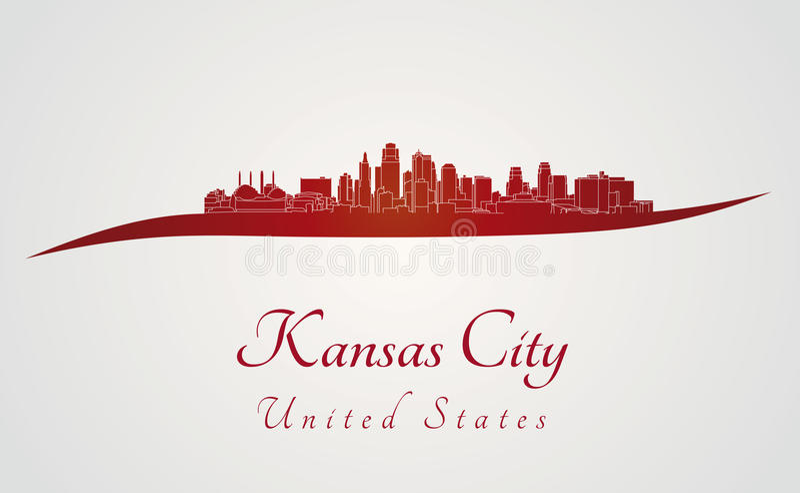 De horizon van Kansas City in rood vector illustratie
