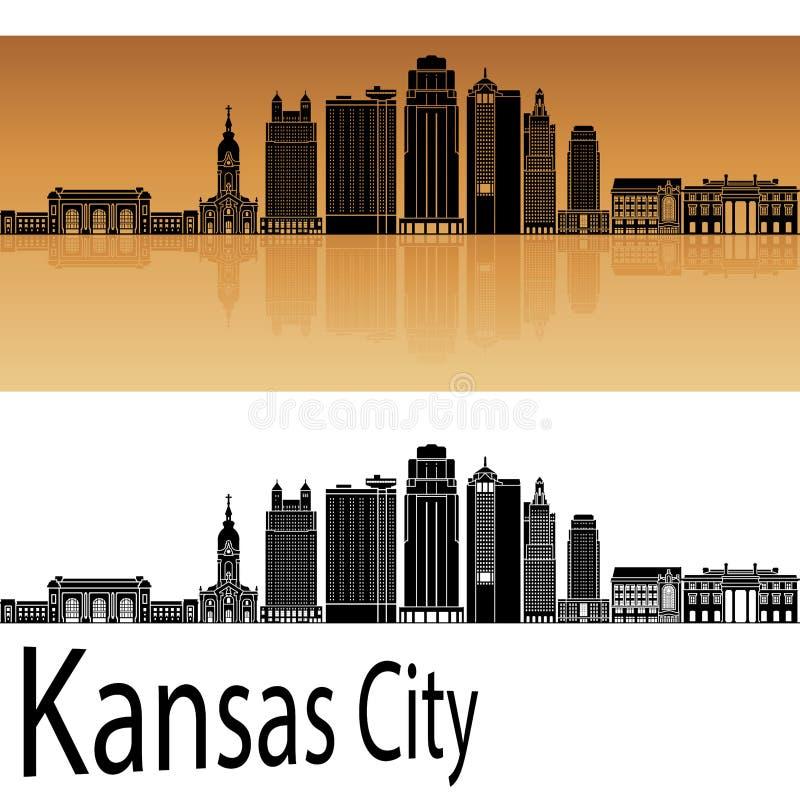 De horizon van Kansas City V2 in sinaasappel vector illustratie