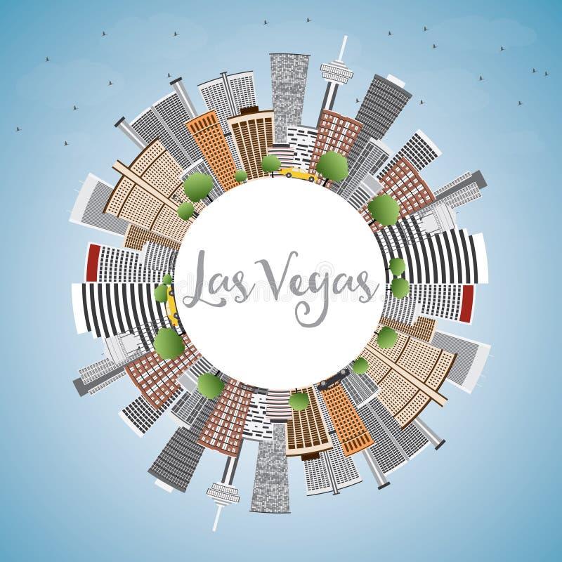 De Horizon van Las Vegas met Gray Buildings, Blauwe Hemel en Exemplaarruimte royalty-vrije illustratie