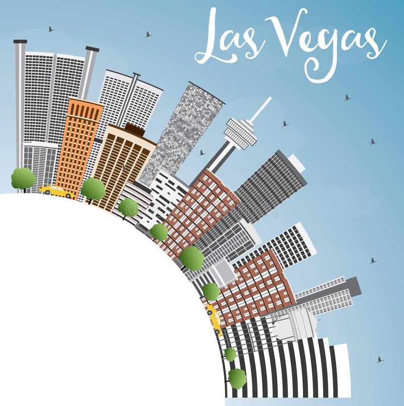 De Horizon van Las Vegas met Gray Buildings, Blauwe Hemel en Exemplaarruimte stock illustratie