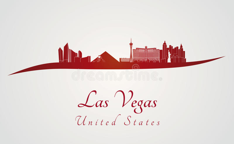 De horizon van Las Vegas in rood vector illustratie