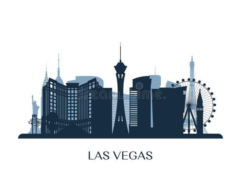De horizon van Las Vegas, zwart-wit silhouet stock illustratie