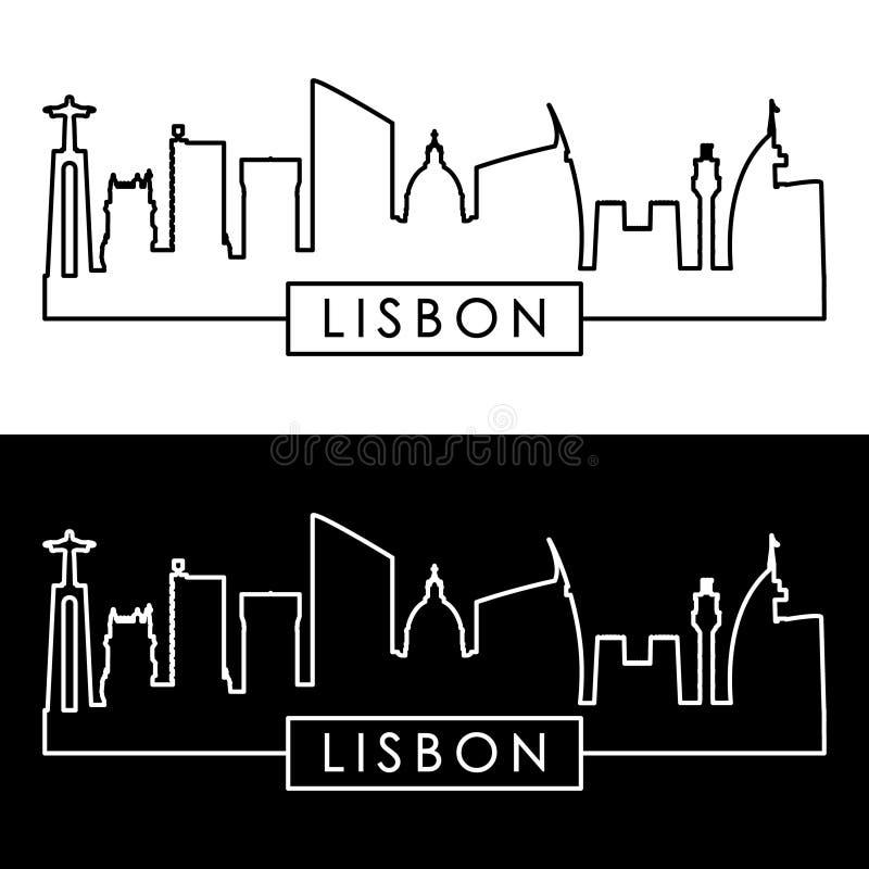 De horizon van Lissabon lineaire stijl stock illustratie