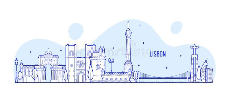De horizon van Lissabon, de vector van de stadsgebouwen van Portugal stock illustratie