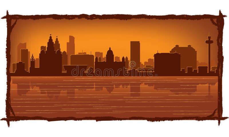 De horizon van Liverpool Engeland stock illustratie