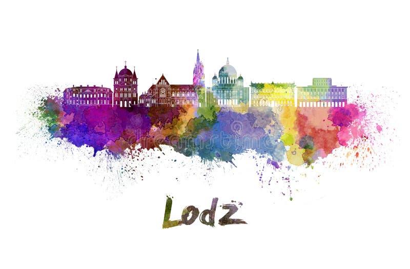 De horizon van Lodz in waterverf stock illustratie