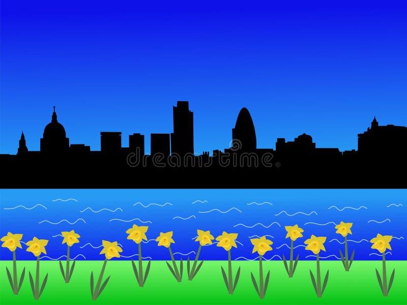 De horizon van Londen in de lente vector illustratie