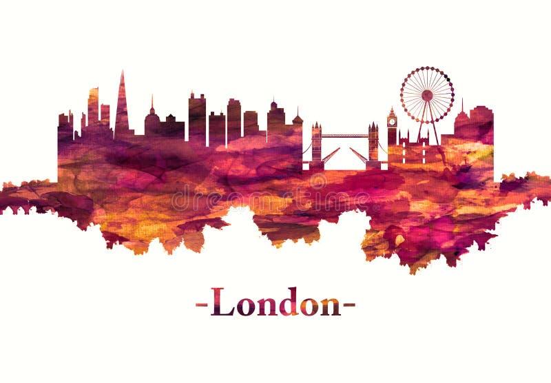 De horizon van Londen Engeland in rood vector illustratie