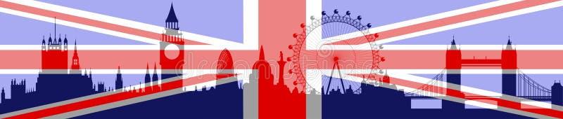 De horizon van Londen met vlag stock illustratie
