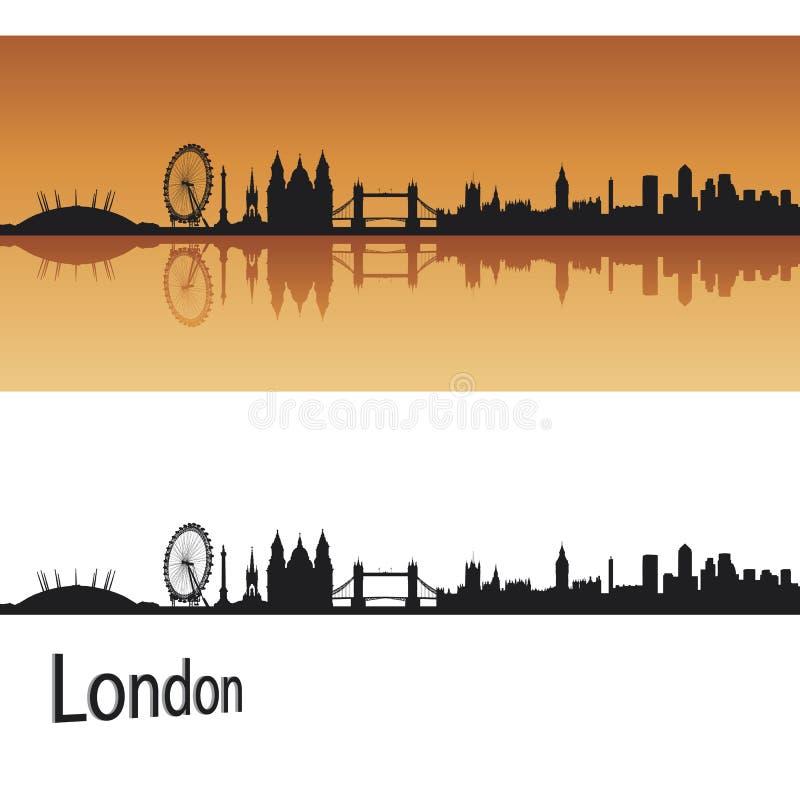 De horizon van Londen op oranje achtergrond