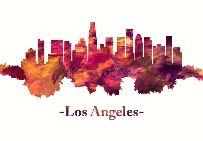 De horizon van Los Angeles Californië in rood vector illustratie