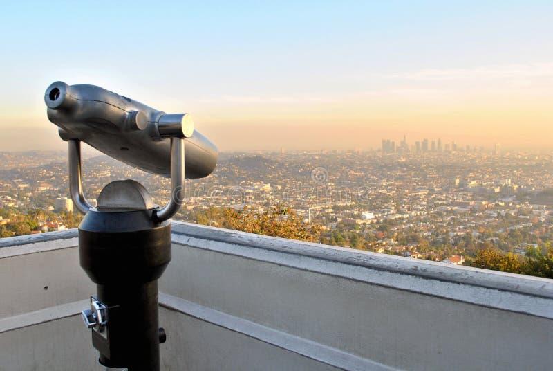 De Horizon van Los Angeles met Verrekijkers royalty-vrije stock afbeelding
