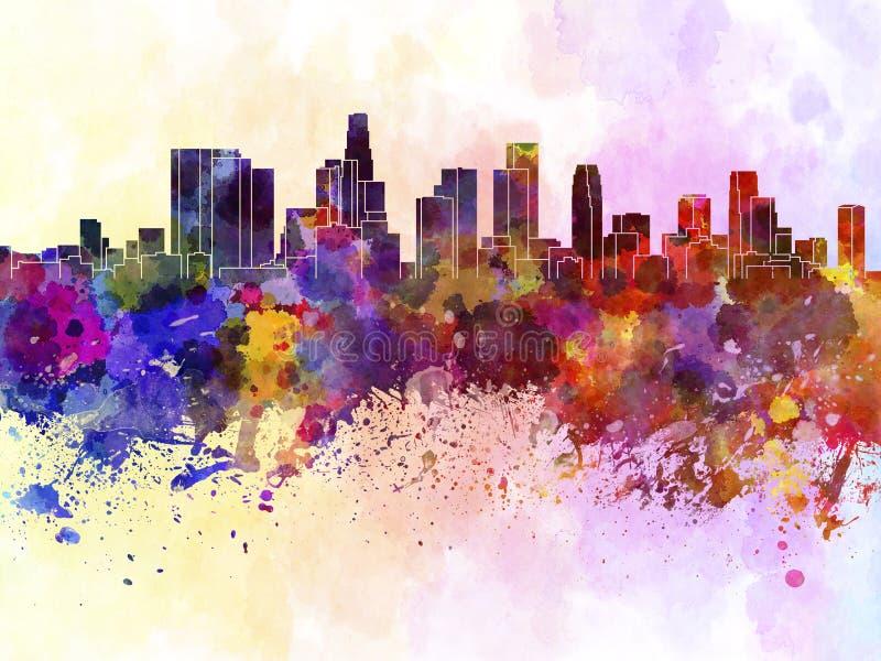 De horizon van Los Angeles op waterverfachtergrond royalty-vrije illustratie
