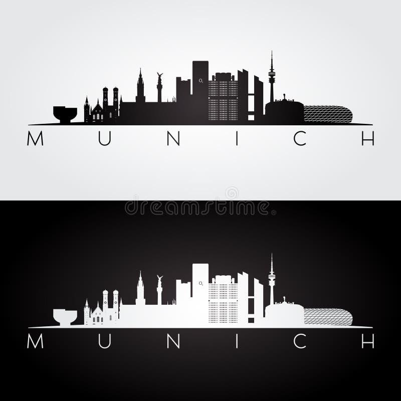 De horizon van München en oriëntatiepuntensilhouet royalty-vrije illustratie