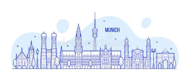 De horizon van München, de vector van de stadsgebouwen van Duitsland royalty-vrije illustratie
