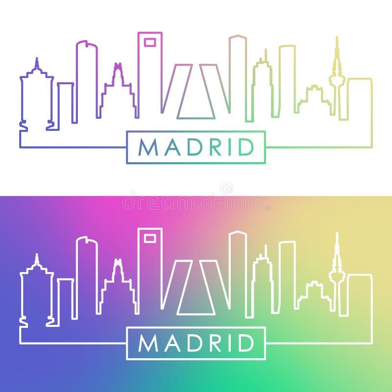 De Horizon van Madrid Kleurrijke lineaire stijl stock illustratie