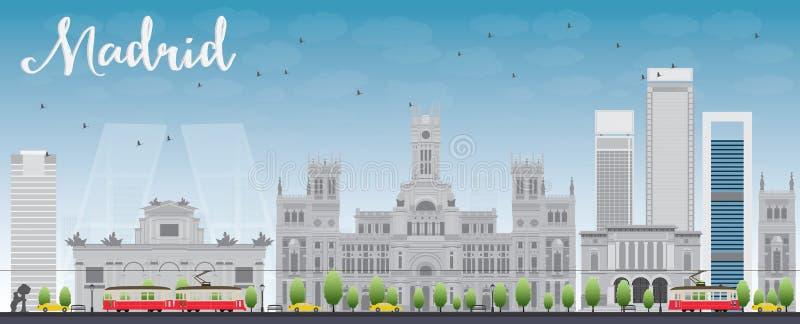 De Horizon van Madrid met grijze gebouwen en blauwe hemel stock illustratie