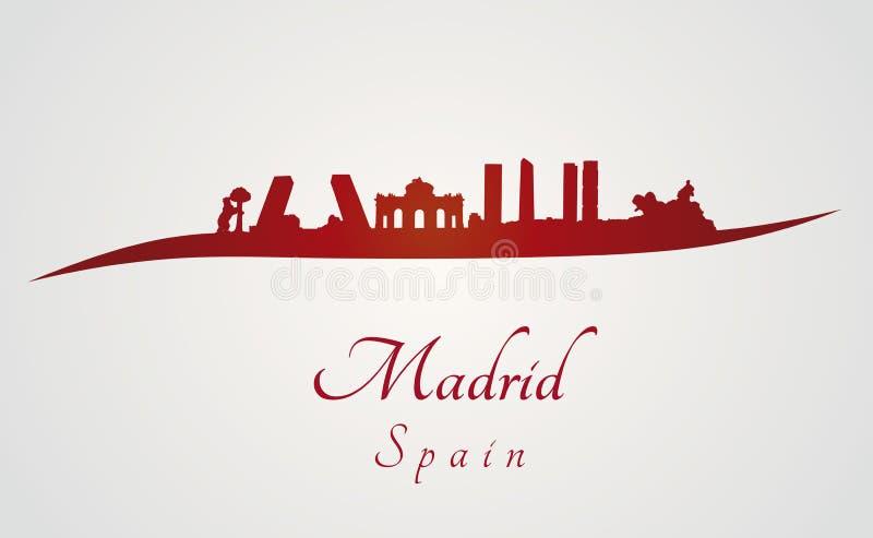 De horizon van Madrid in rood royalty-vrije illustratie