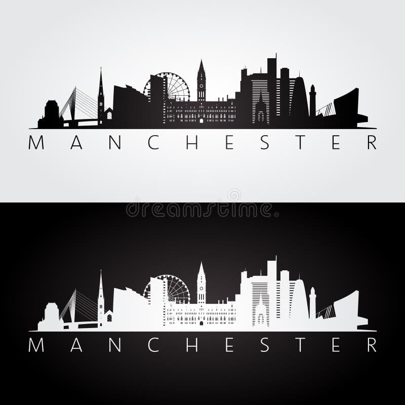 De horizon van Manchester en oriëntatiepuntensilhouet vector illustratie