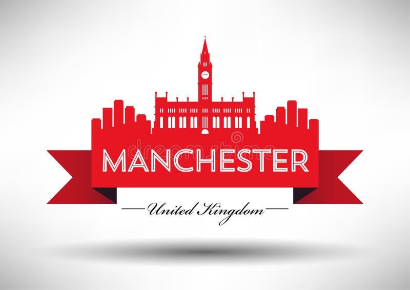 De Horizon van Manchester met Typografieontwerp royalty-vrije illustratie