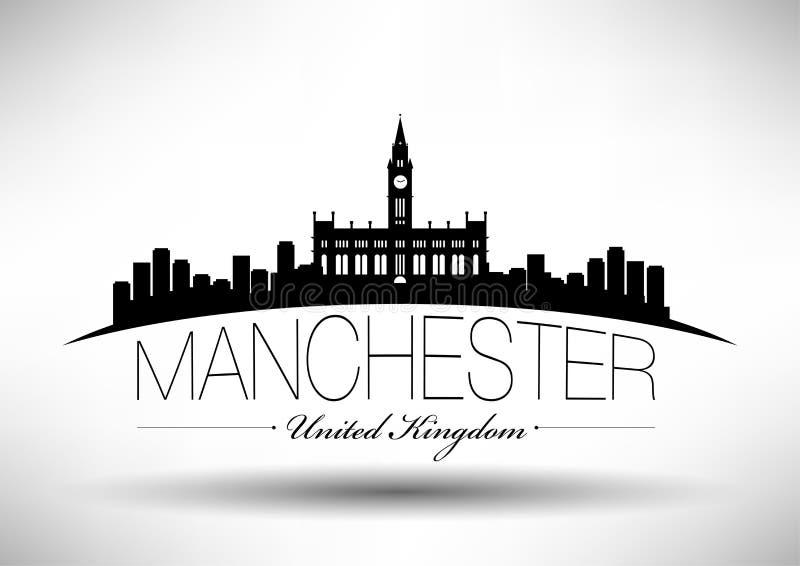 De Horizon van Manchester met Typografieontwerp stock illustratie