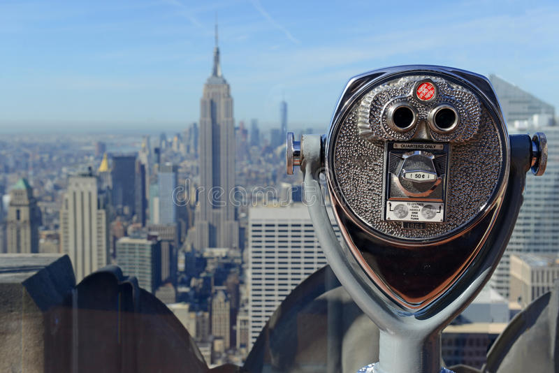 De horizon van Manhattan in de uit het stadscentrum, Stad van New York stock fotografie