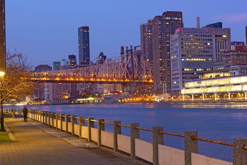 De horizon van Manhattan en Queensboro-Brug over de Rivier van het Oosten aan Roosevelt Island stock fotografie