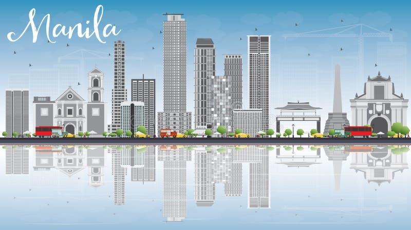 De Horizon van Manilla met Gray Buildings, Blauwe Hemel en Bezinningen stock illustratie