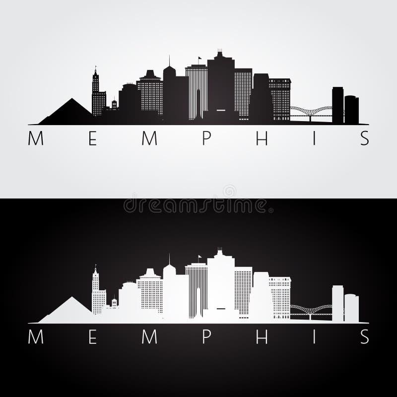 De horizon van Memphis, de V.S. en oriëntatiepuntensilhouet stock illustratie
