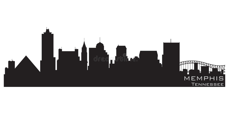 De horizon van Memphis, Tennessee Gedetailleerd vectorsilhouet royalty-vrije illustratie