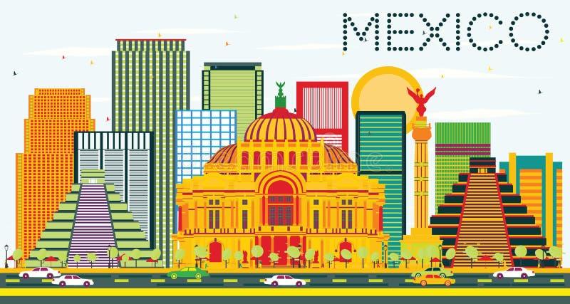 De Horizon van Mexico met Kleurengebouwen en Blauwe Hemel stock illustratie