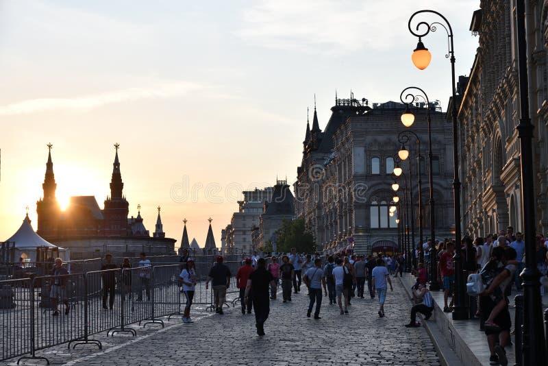 De Horizon van Moskou bij Zonsondergang Rood vierkant Rusland royalty-vrije stock foto's