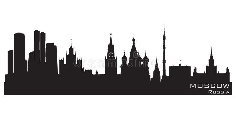 De horizon van Moskou, Rusland Gedetailleerd vectorsilhouet royalty-vrije illustratie